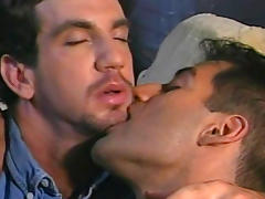 Gay muscled guy Max Grand doing a blowjob to Tom Katt