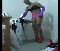 encased in pantyhose doing my chores