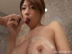 Yuka sucks her man's prick in a bathroom and enjoys it