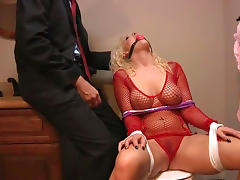 Chick in fishnet fuck with her boss in BDSM style