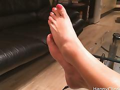 Mom's long wrinkled soles, and highly arched feet