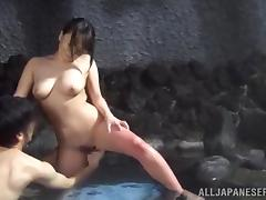 Sex in the sauna with a delightful Japanese hottie