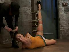 Incredible hogite and twitching session for a slender slave Kristina