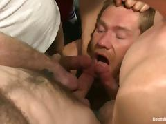 Fetish Gay BDSM in the locker room with a lot of dominating