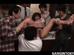 Tokyo teen slut wide spread and pussy licked in gangbang