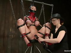 Darling gets chained, tormented and fucked hard with big toys porn video