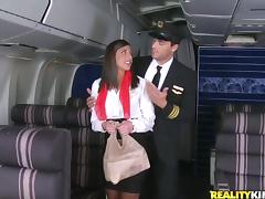 New sexy stewardess had been dreaming about to have sex with the pilot