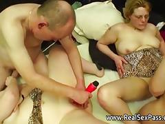 Chubby British amateur swinging housewives porn video