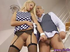 Amateur stockings hoe rides an old guy