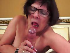 Old Lady, Bedroom, Blowjob, Brunette, Fat, Glasses