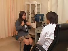 Slut in mini skirt is given a gyno examination in sex video