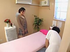 Slutty nude Japanese girl fucks her horny masseur.s dick