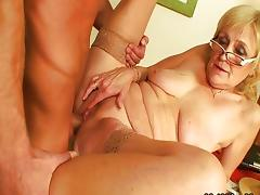 Mom and Boy, 18 19 Teens, Blonde, Blowjob, Couple, Cum