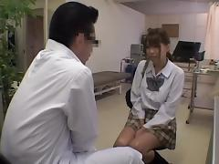 Jap schoolgirl fingered in voyeur medical fetish video