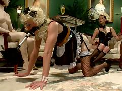 Crossdresser Guy in Maid Costume Strapon Fucked by Maitresse Madeline