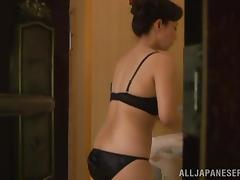 Voyeur video with Mai Itou taking a bath and masturbating