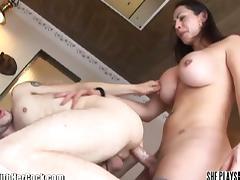 Busty tranny fucking man's ass