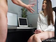 Japanese Girl Masturbates and Takes a Cumshot in Her Mouth in the Office