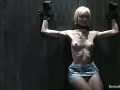 Skinny blonde babe in glasses gets tortured and humiliated
