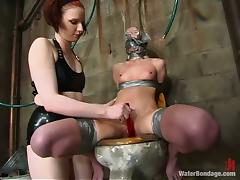 Claire Adams gets tortured in a cellar and likes it much