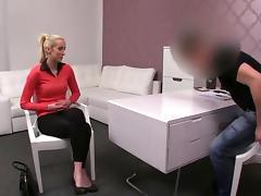 Blonde amateur fucked on a casting couch