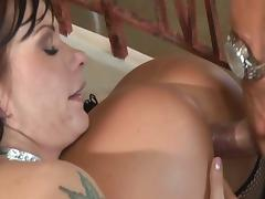 Two perverse brunettes get fucked together