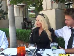 Blonde MILF Alexis Diamonds Enjoys Two Dicks in MMF Threesome