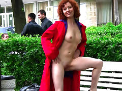 Babe, Babe, Outdoor, Posing, Public, Redhead