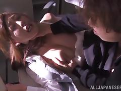 Tied up Japanese office girls get fucked by invaders porn video