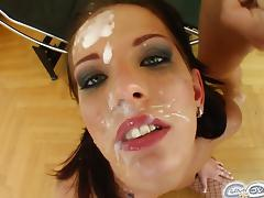 Skinny brunette queenie sucks off five hard cocks porn video