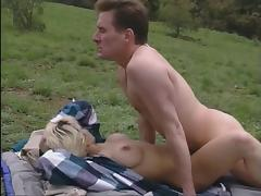 Blonde gets fucked in her ass and pussy outdoors porn video