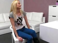 Small tits blonde fucked on couch on her casting