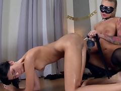 Masked mistress inserts a bottle in her slave's asshole porn video