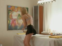 Blonde Gives a Great blowjob and Gets Fucked after Massage