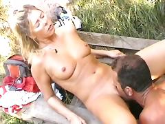 German blonde sucks cock and gets her pussy licked to orgasm