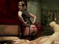 Maitresse Madeline Spanking Tied Up Dude in Bondage and Femdom Vid