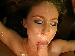 Slender gal with natural tits gets fucked by multiple guys porn video