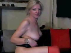 Hot blonde with big rack masturbates