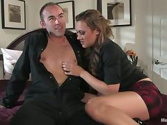 Hot Gwen Diamond Fingering and Strapon Fucking a Guy's Ass after BJ