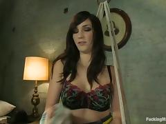 Holly Michaels moans sweetly while playing with a fucking machine porn video