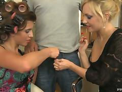 Kristyna Kristal and Nataly Von get all their holes smashed in a foursome