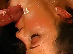 Brunette Melli really love to swallow
