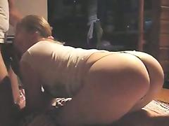 Doggy style fuck with her thong on porn video