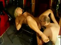 Blonde milf gets her vag licked, fingered and fucked by some horny nerd