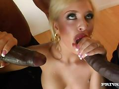 Interracial double penetration for a divine blond Andi