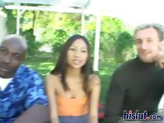 Nyomi Asian cunt got dicked with ebony and ivory