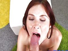 Dicksucking loving brunette spoils cock