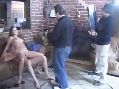 A backstage scene of pretty brunette getting fucked indoors