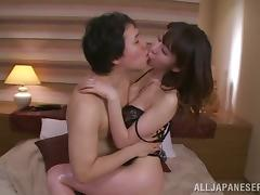 Sexy Japanese Wife in Lingerie Meisa Chibana Sucking and Fucking Lustfully