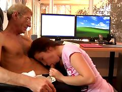 Slender Anne is sucking an old dick in the office porn video